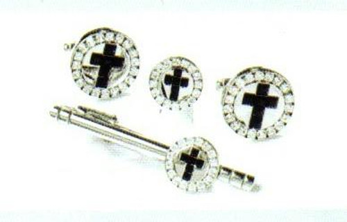 4d silver black cross