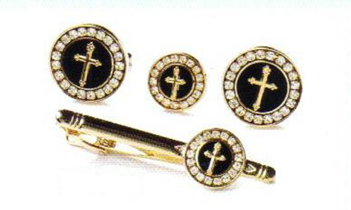 4d round black gold cross