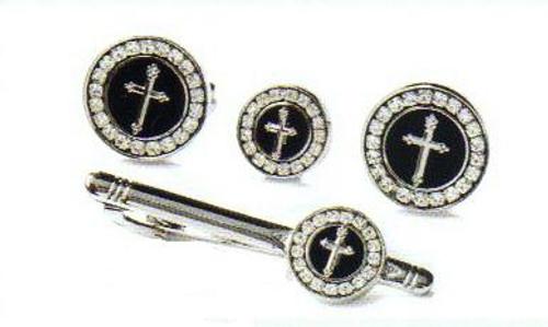 4d round black silver cross