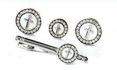Cufflink Set w/ Tie Clip & Tie Chain in Silver & White