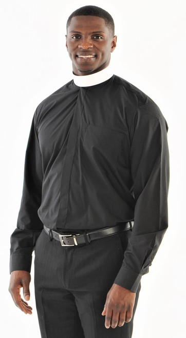 01. Banded Collar Clergy Shirt with Collar & Studs