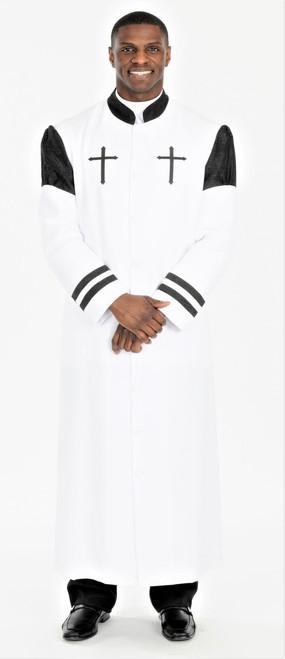 001. Hoshea Clergy Robe For Men In White & Black