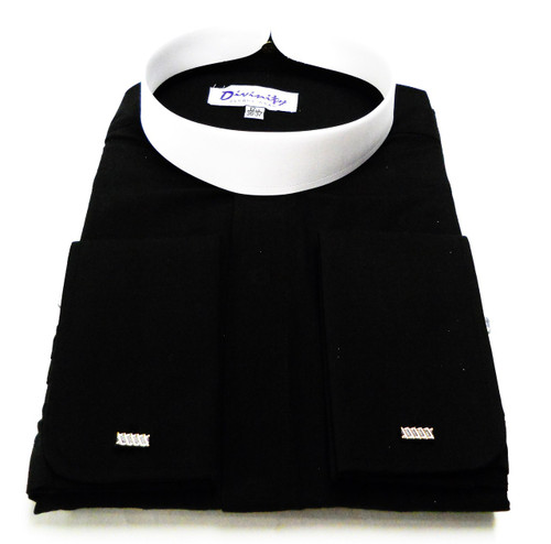 Men's Banded Collar French Cuff Clergy Shirt In Black