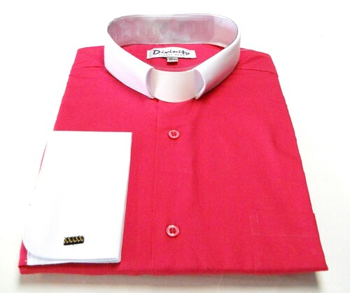Two-Tone French Cuff Clergy Shirt In Fuschia