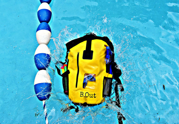 100% Water Proof Shoulder Backpack Floats safely if dropped in water Suitable for quick submersion Water Proof, Sand Proof, Dust Proof, Dirt Proof High frequency welded seams Made of 500D  PVC tarpaulin Durable, wipe clean and easy to store away Multi-purpose storage application Heavy duty and durable materials for rough usage    It is 100% waterproof, will float if dropped in the water and handle a quick submersion.  must be sealed correctly and not overfilled.  PERFECT DRY BACKPACK hiking, camping, survival bag, rafting, beach, pool. great for keeping items safe and dry like keys, wallets, cell phone, camera, ipad, etc...  It will keep your clothes dry and floats if dropped in the water. Made from 500D polyester -coated tarpaulin.  Easily sealed with the Fold Seal System.  High visibility color allows you to spot it from a distance.