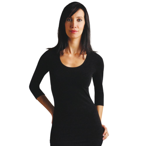 Seamless 3/4 Sleeve Scoop Neck Top