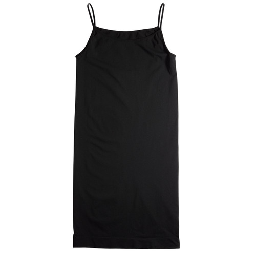 Seamless Shoe String Singlet Slip Dress - Black