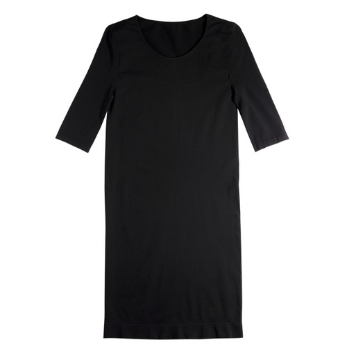 Seamless 3/4 Sleeve Scoop Neck Dress - Black