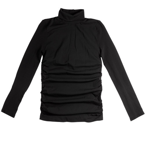 Seamless Ruched Polo Neck with Long Sleeves