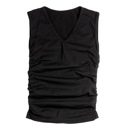 Seamless Ruched Sleeveless V-Neck Top - Black