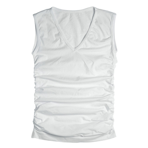 Seamless Ruched Sleeveless V-Neck Top - White