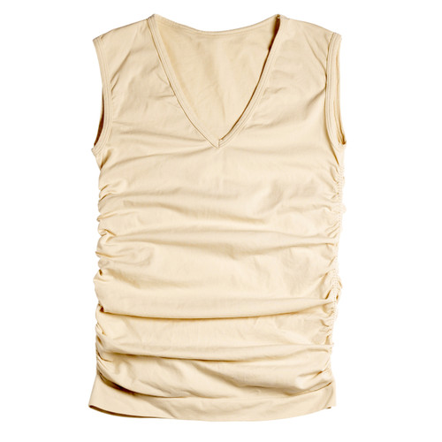 Seamless Ruched Sleeveless V-Neck Top - Skin