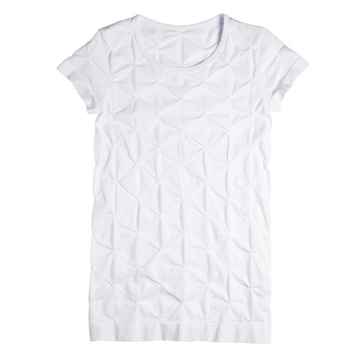 Seamless Tuck Stitch T Shirt with Cap Sleeve - White