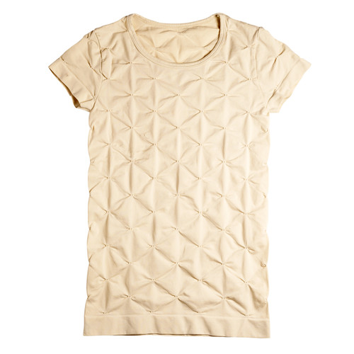 Seamless Tuck Stitch T Shirt with Cap Sleeve - Skin