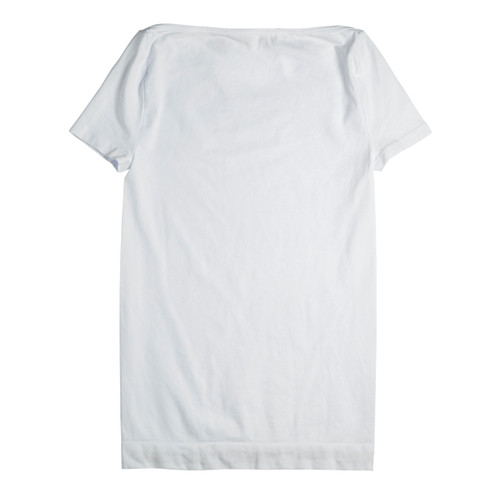 Seamless Boat Neck T Shirt with Cap Sleeve - White