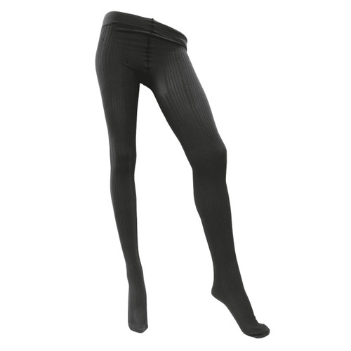 Sock Café Womens PK1 Freece 80 Denier Textured Tights - Black
