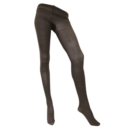 Sock Café Womens PK1 Broad Rib 60 Denier Patterned Tights - Chestnut