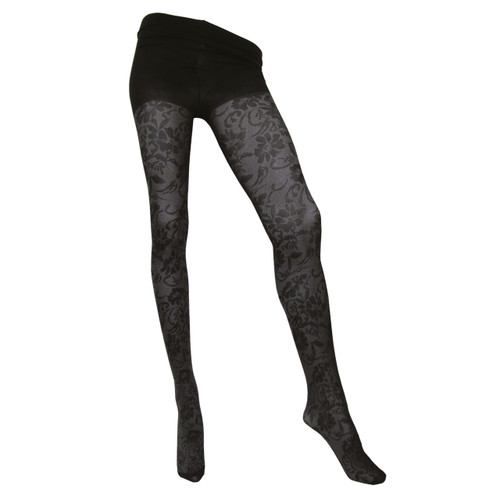 Sock Café Womens PK1 Mesh Fleur 40 Denier Patterned Tights - Black/Silver