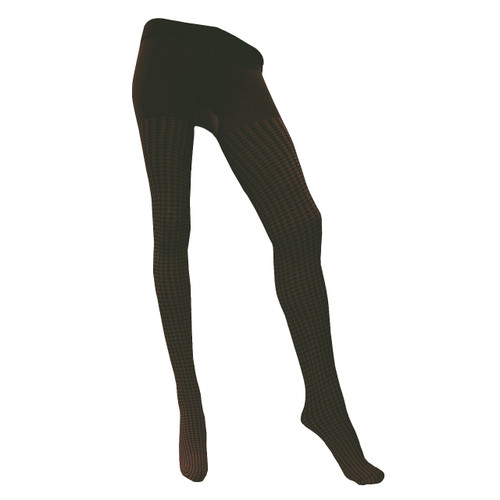 Womens Houndstooth 80 Denier Patterned Tights - Black/Chocolate