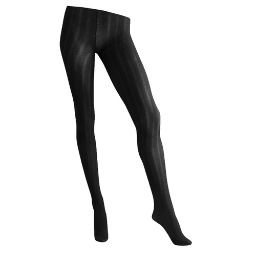 Womens 5x5 Ribbed 125 Denier Textured Tights - Black