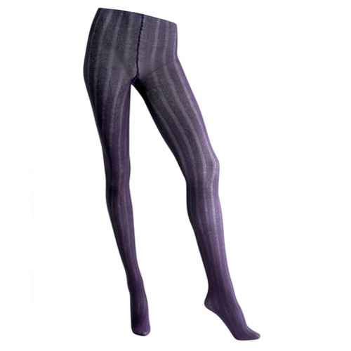 Sock Café Womens PK1 5x5 Ribbed 125 Denier Textured Tights - Purple