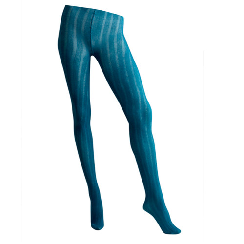 Womens 5x5 Ribbed 125 Denier Textured Tights - Ocean