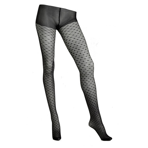 Sock Café Womens PK1 Geometric Patterned 60 Denier Mesh Tights - Black
