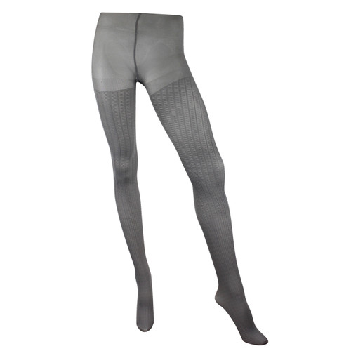 Fish Scale Cable 80 Denier Textured Tights - Platinum