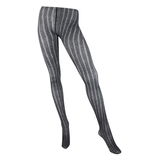 Ribbed Cotton & Modal 125 Denier Textured Tights - Charcoal
