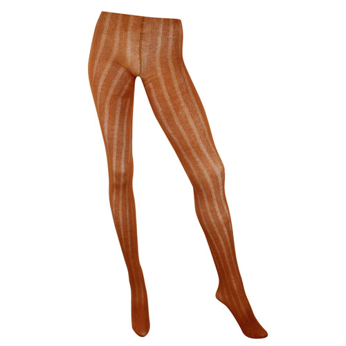 Ribbed Cotton & Modal 125 Denier Textured Tights - Ginger