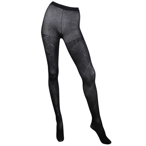 Sock Café Womens PK1 Corrugated Diamond Patterned 60 Denier Tights - Black