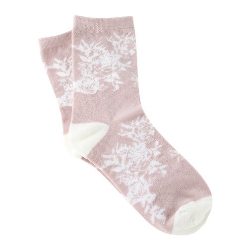 Sock Cafe Women's PK1 Cottage Flower Cotton Fashion Quarter Crew - Dust Pink