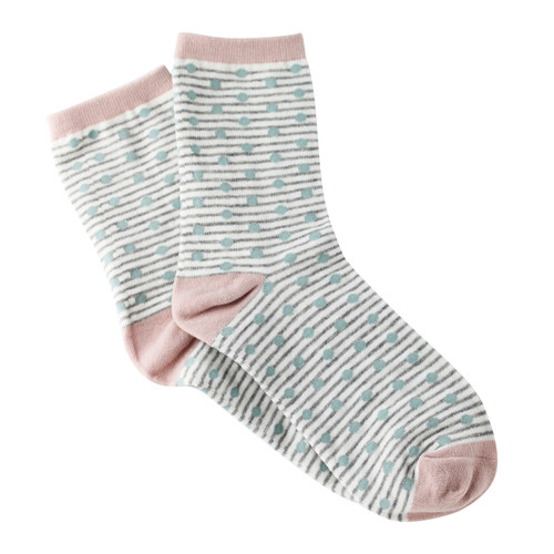 Sock Cafe Women's PK1 Ping Pong Cotton Fashion Quarter Crew - Mineral Blue