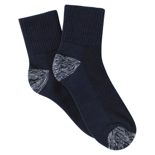 PK3 Tough Quarter Crew Socks - Navy