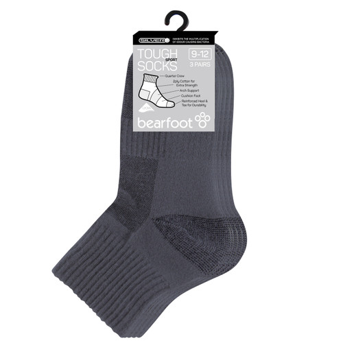 Bearfoot Children's PK3 Tough Quarter Crew cotton sport and school socks - School Grey