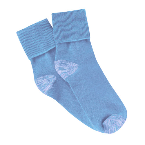 PK3 Tough Anklet Turn Top Socks with Silverplus - Saxe