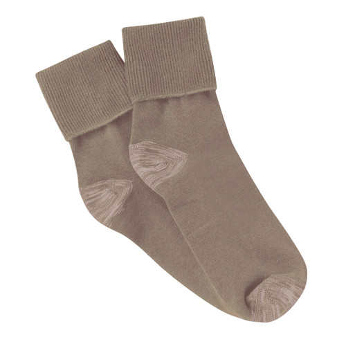 PK3 Tough Anklet Turn Top Socks with Silverplus - Fawn