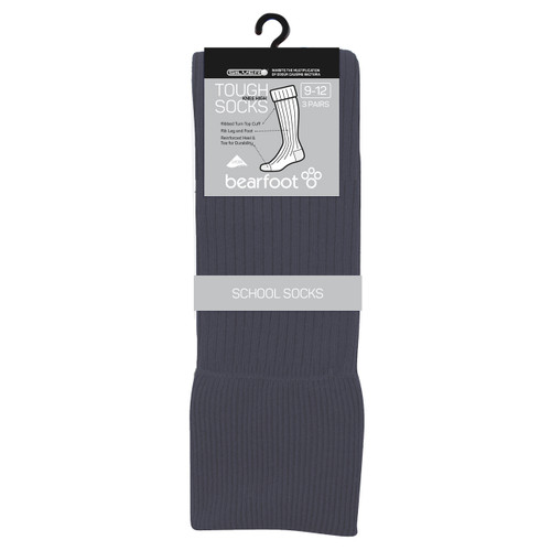 Bearfoot Children's PK3 Tough Knee High cotton school socks with turn top cuff, reinforced heel & toe and Silverplus - School Grey