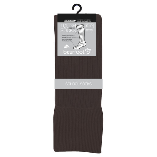 PK3 Tough Knee High School Socks with Silverplus - Chocolate