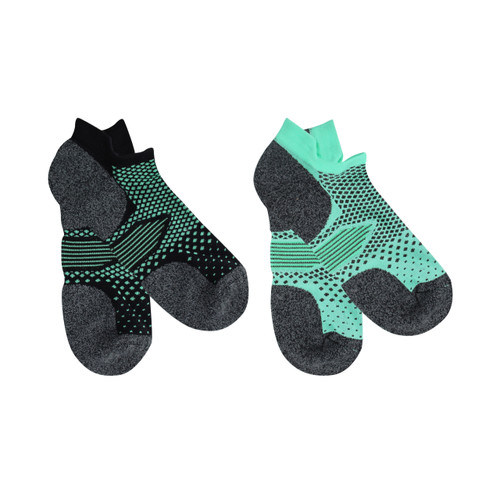 Jack of all trades® Pk2 Men's Ultra Active Performance Socks, with Coolmax® - Mint/Black