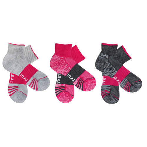 Jack of all trades® Pk3 Women's Quarter Crew Active Socks with Arch Support, for sport, outdoor, work and play - Athletic Pink/Grey