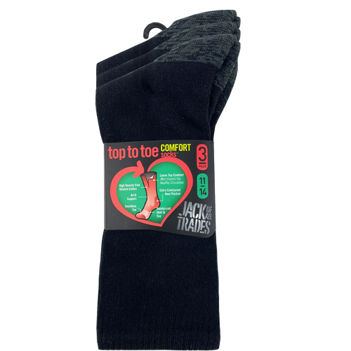 Jack Of All Trades Mens PK3 Top to Toe Cotton Health Comfort Socks