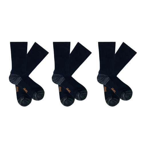 Men's PK3 Top to Toe Cotton Health Comfort Socks- Black