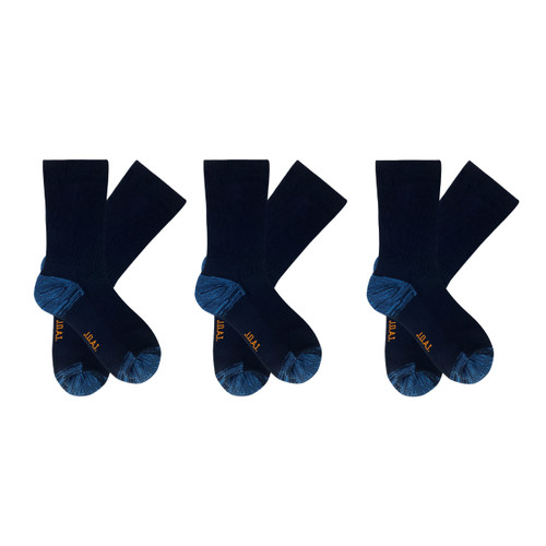 Men's PK3 Top to Toe Cotton Health Comfort Socks - Navy