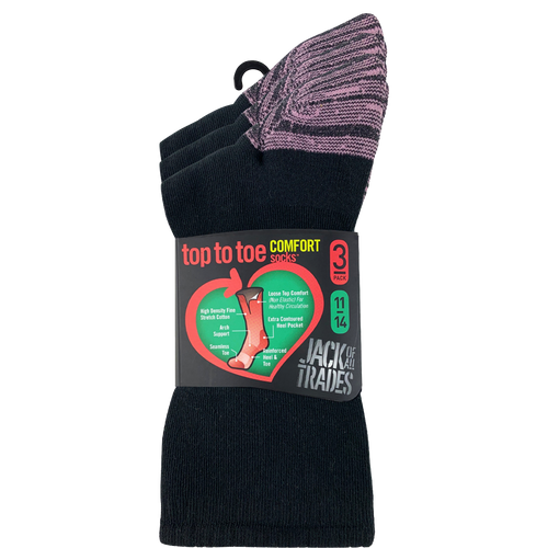 Jack Of All Trades Womens PK3 Top to Toe Cotton Health Comfort Socks