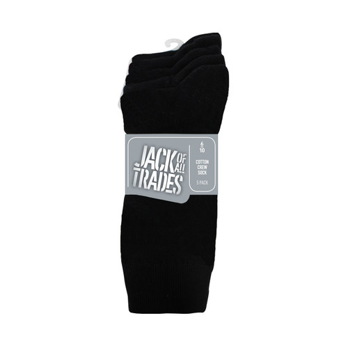 Jack Of All Trades PK5 Crew Socks- Black