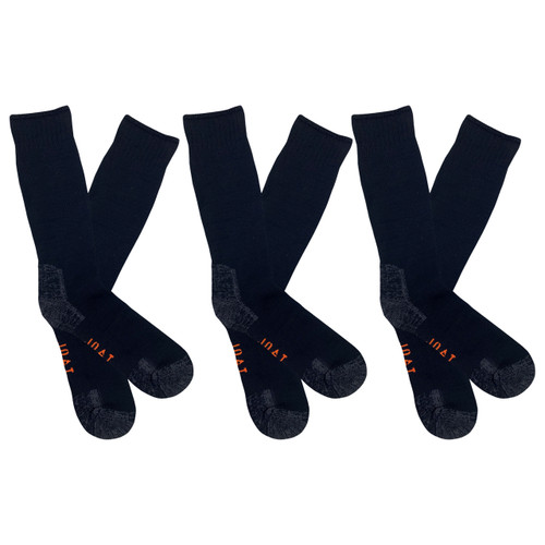 Men's PK3 Thick Bamboo Outdoor Socks- Black