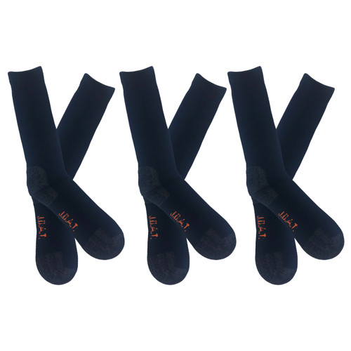 Men's PK3 Thick Bamboo Outdoor Socks- Navy