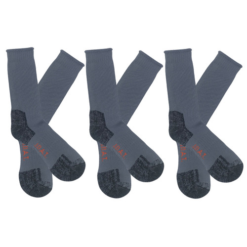 Men's PK3 Thick Bamboo Outdoor Socks- Steel