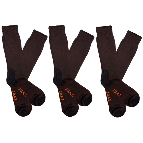 Men's PK3 Thick Bamboo Outdoor Socks- Chocolate